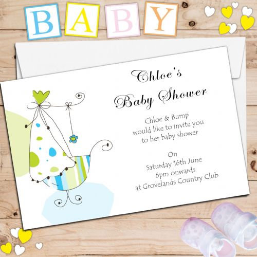 10 Personalised Baby Shower Party Invitations N4